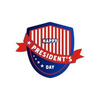 Happy president's day label shield design vector on white background