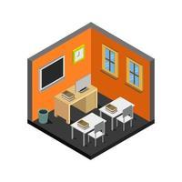 Isometric School Room On White Background vector