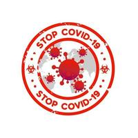 Vintage stop covid 19 stamp template design vector