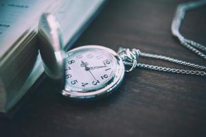 Vintage pocket watch, symbols of time with copy space