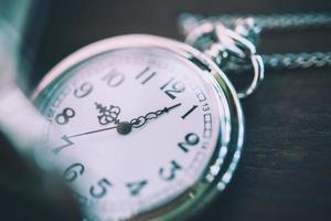 Vintage pocket watch, symbols of time with copy space photo