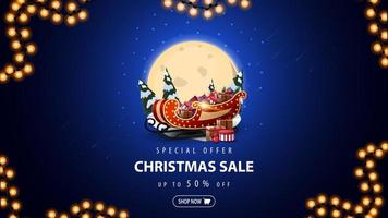 Special offer, Christmas sale, up to 50 off, blue discount banner with big full moon, snowdrifts, pines, starry sky and Santa Sleigh with presents