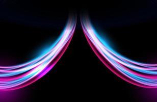 Estelas de luz de colores abstractos con movimiento, efecto de velocidad. vector