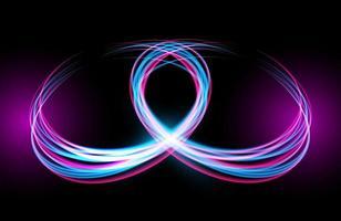 Estelas de luz de neón circulares abstractas con efecto de desenfoque de movimiento vector