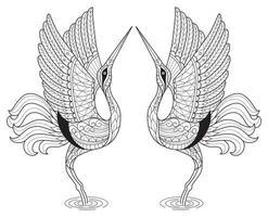 Crane birds coloring page vector
