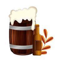 Isolated beer barrel and bottle vector design