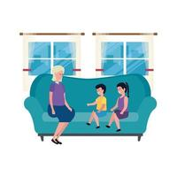 cute grandmother with kids in the sofa characters
