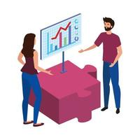 young couple with puzzle piece and infographic