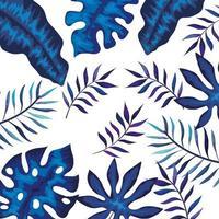 marco con ramas y hojas de colores azules