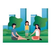pareja de padres con hija en el parque