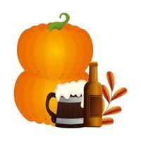 Oktoberfest beer and pumpkin vector design