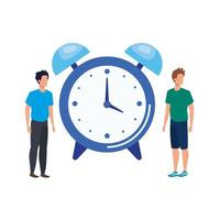 young men with alarm clock characters