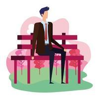 elegante empresario sentado en el carácter de la silla del parque vector