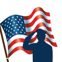 silhouette of man soldier with united states flag vector