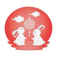 cute and little rabbits with chinese lamps hanging vector