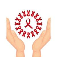 hands with aids day awareness ribbons