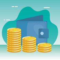 coins money dollars with wallet vector