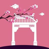 chinese arch and tree plant scene vector