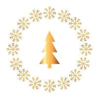 pine tree christmas in frame circular of snowflakes vector
