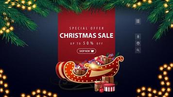 Special offer, Christmas sale, up to 50 off, blue discount banner with red line for text, garland, frame of Christmas tree branches and Santa Sleigh with presents