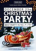 Christmas party, best party in your city, poster with white letters, winter landscape on background, Santa Sleigh with presents and garland