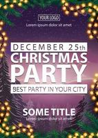 Christmas party, best party in your city, poster with white letters, winter landscape on background, Christmas tree branches and garland