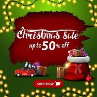 Christmas sale, up to 50 off, red and green discount banner with ragged hole, garland, red button, red vintage car carrying Christmas tree and Santa Claus bag with presents