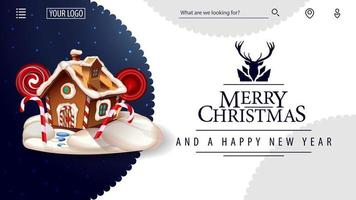 Merry Christmas and Happy New Year, white card for website in minimalistic white style with beautiful greeting lettering and Christmas gingerbread house vector