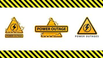 Power outage, collection yellow warning signs wrapped with garland on the white background isolated on white background vector