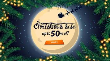 Christmas sale, up to 50 off, discount banner with big full moon on starry sky, silhouette Santa Claus, frame of Christmas tree and orange button