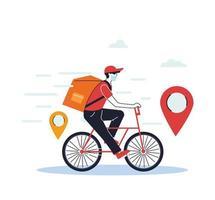 Hombre con máscara en un scooter entregando un pedido