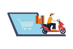 Hombre con máscara en scooter entregando un pedido en línea vector