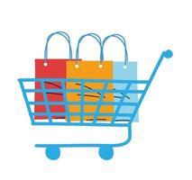 carrito de compras con bolsas y paquetes. vector