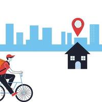 deliveryman in a mask on a bike making a delivery to a home vector