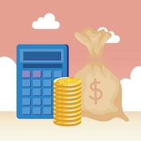coins money dollars with bag vector