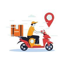 Hombre con máscara en scooter entregando una caja vector