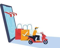 Hombre con máscara en bicicleta entregando un pedido en línea vector