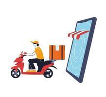 Hombre con máscara en una bicicleta entregando un pedido en línea vector