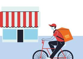 man in mask on a bike making a delivery vector