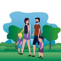 parents couple with daughter and son on the park vector