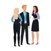 gente de negocios conociendo personaje avatar vector