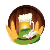 Oktoberfest hat and beer vector design