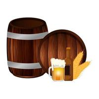 Beer barrel bottle and mug vector design