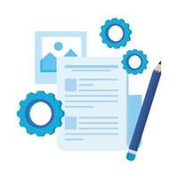 paper document file with gears machine