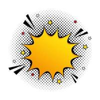 explosión de color amarillo con estrellas icono de estilo pop art vector