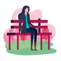 elegante empresaria sentada en la silla del parque vector
