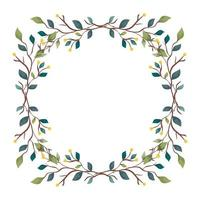 frame of branches with leafs nature decorative vector