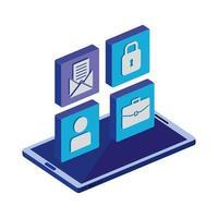Dispositivo de teléfono inteligente con icono aislado del menú de la aplicación