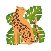 leopard animal with leafs isolated icon vector