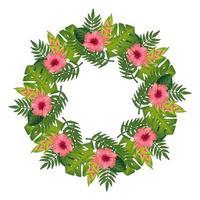 Marco circular de flores con hojas icono aislado vector